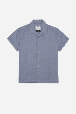 Men's Cuban Collar Short Sleeve Shirt in Blue Jacquard