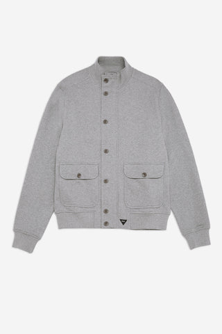 Men's Casual Jersey Bomber Jacket in Grey Marl