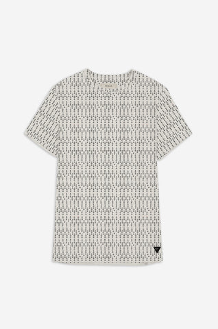 Men's Decoded Code Print Tee | Ecru Marl