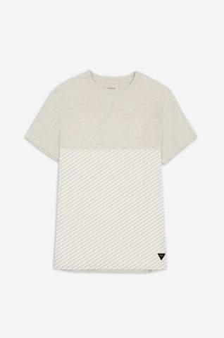 Men's Transmitted Tonal Pattern Tee | Ecru Marl