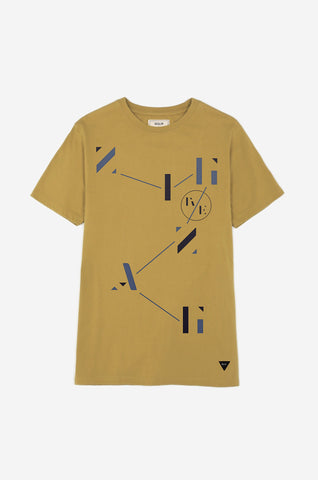 Men's Agent Zig Zag Graphic Print Tee | Ochre Yellow