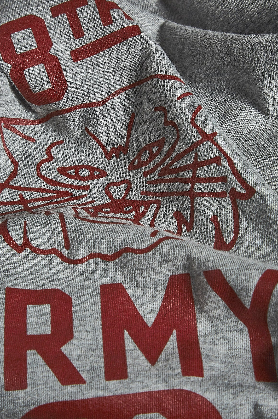 Grey Marl tee with USAAF tiger motif design in red