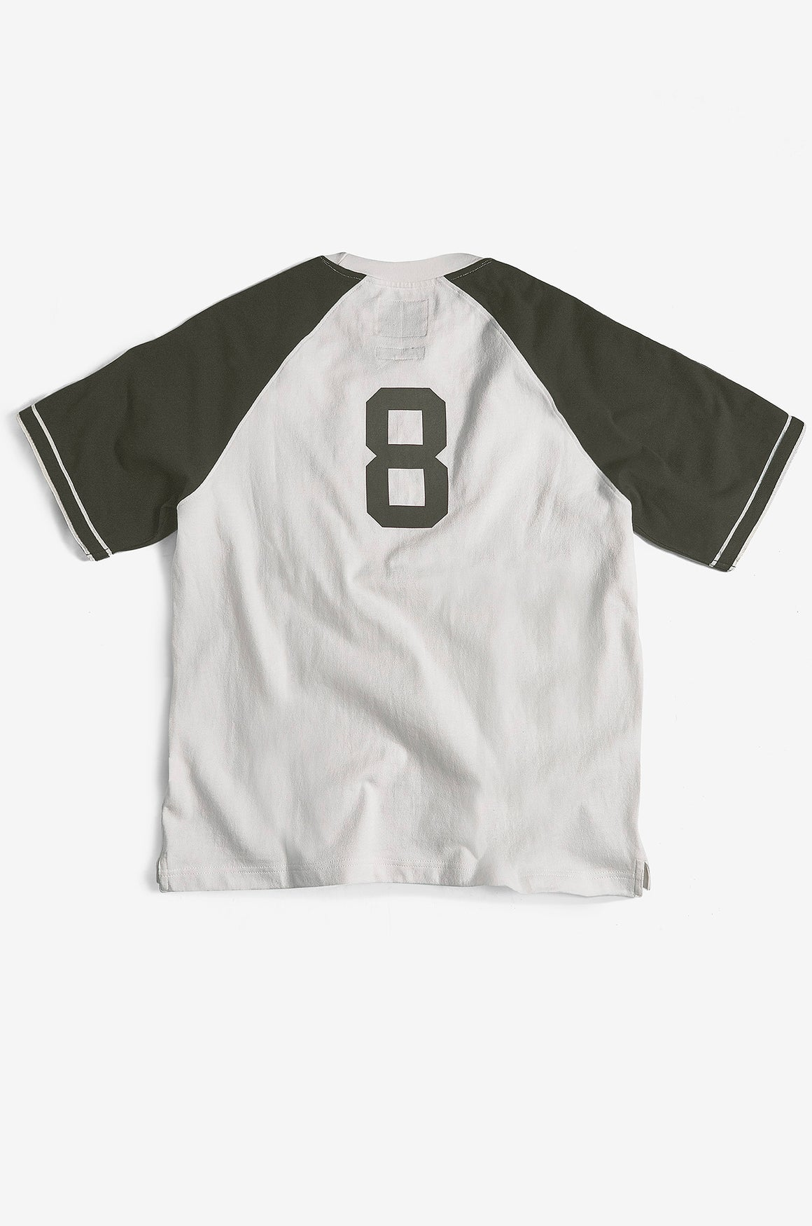 Heavy Jersey Baseball Tee | Ecru / Dark Olive – issue #RE0515