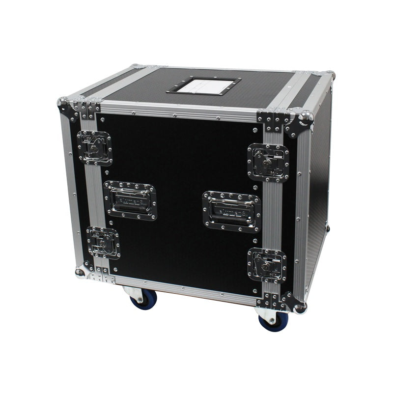 "12u Flight Rack Case 19"" On Locking Wheels Chrome Plated Steel Hardware Plywood Sides & Lids"