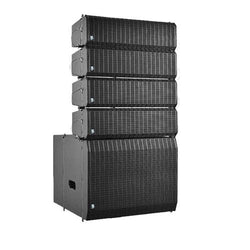 "Compact Active Line Array Set Dual 4"" Array 5 Box Set With 12"" Active Sub - Flight Case Included (1)"