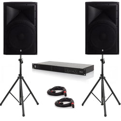 "Party Pack Two - 2 x Alpha 15"" 1600w Peak PA Speakers With Amplifier, Cables And Stands (1)"