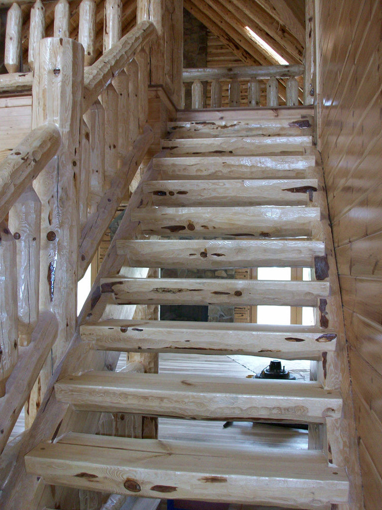 Awesome Log Stair Materials (Red Pine) ...