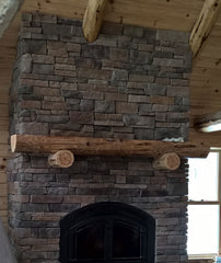 Decorative Log Fireplace Mantels (Red Pine)
