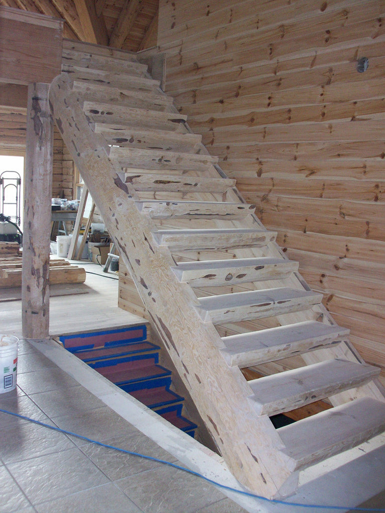 Marvelous ... Log Stair Materials (Red Pine)