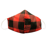 Happy Hour Reusable Face Mask in Buffalo Check Red