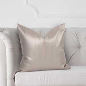 "Marco Gunmetal 20"" Faux Leather Pillow with Down Insert"