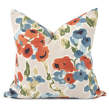 "French Bouquet Persimmon 20"" Floral Pillow with Down Insert"