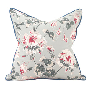"Mirador Morn Ocean Blue Reversible Floral 20"" Pillow"