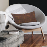 Cambridge Plaid Rust Brown Kidney Pillow