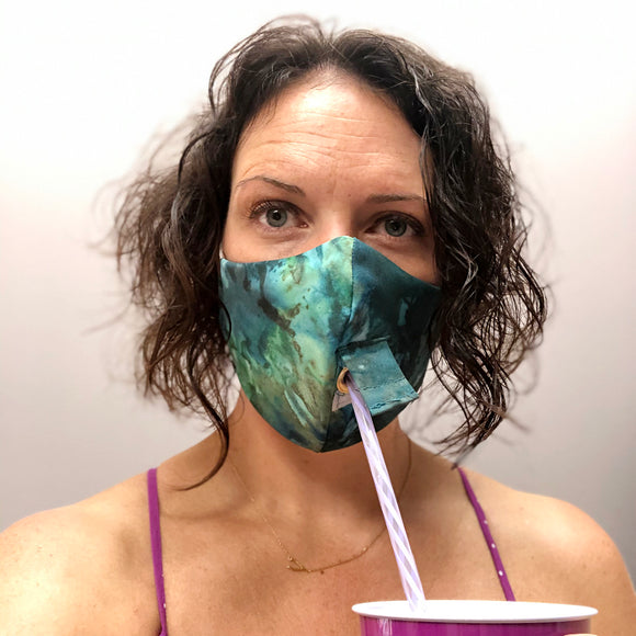 Happy Hour Reusable Face Mask in Tie Dye Indigo
