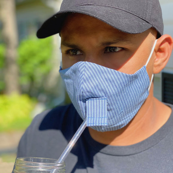 Happy Hour Reusable Face Mask in Denim Stripe