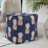 Pineapple Navy Square Pouf Ottoman