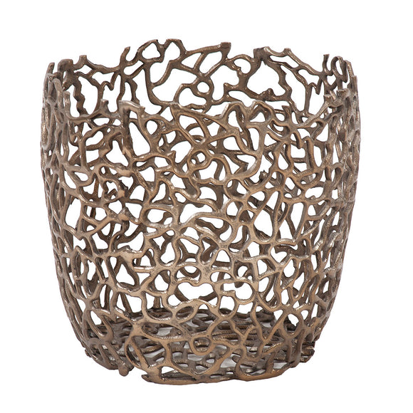 Bronze Aluminum Branch Basket Bowl