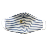 Happy Hour Reusable Face Mask in Denim Blue Ticking Stripe