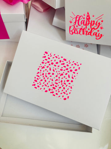 NEON PINK DALMATION SPOT SOLID WHITE LID GIFT BOX BLANK 240x155x30mm