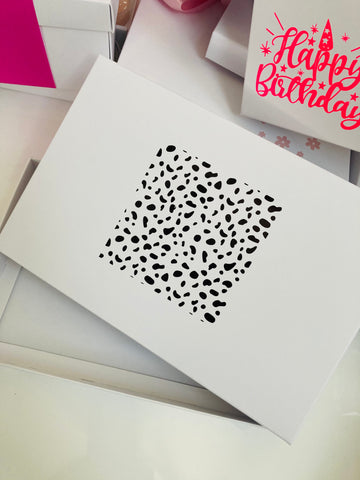 BLACK DALMATION SPOT SOLID WHITE LID GIFT BOX BLANK 240x155x30mm