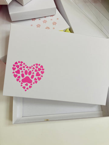 PINK PAW PRINT HEART SOLID WHITE LID GIFT BOX BLANK 240x155x30mm
