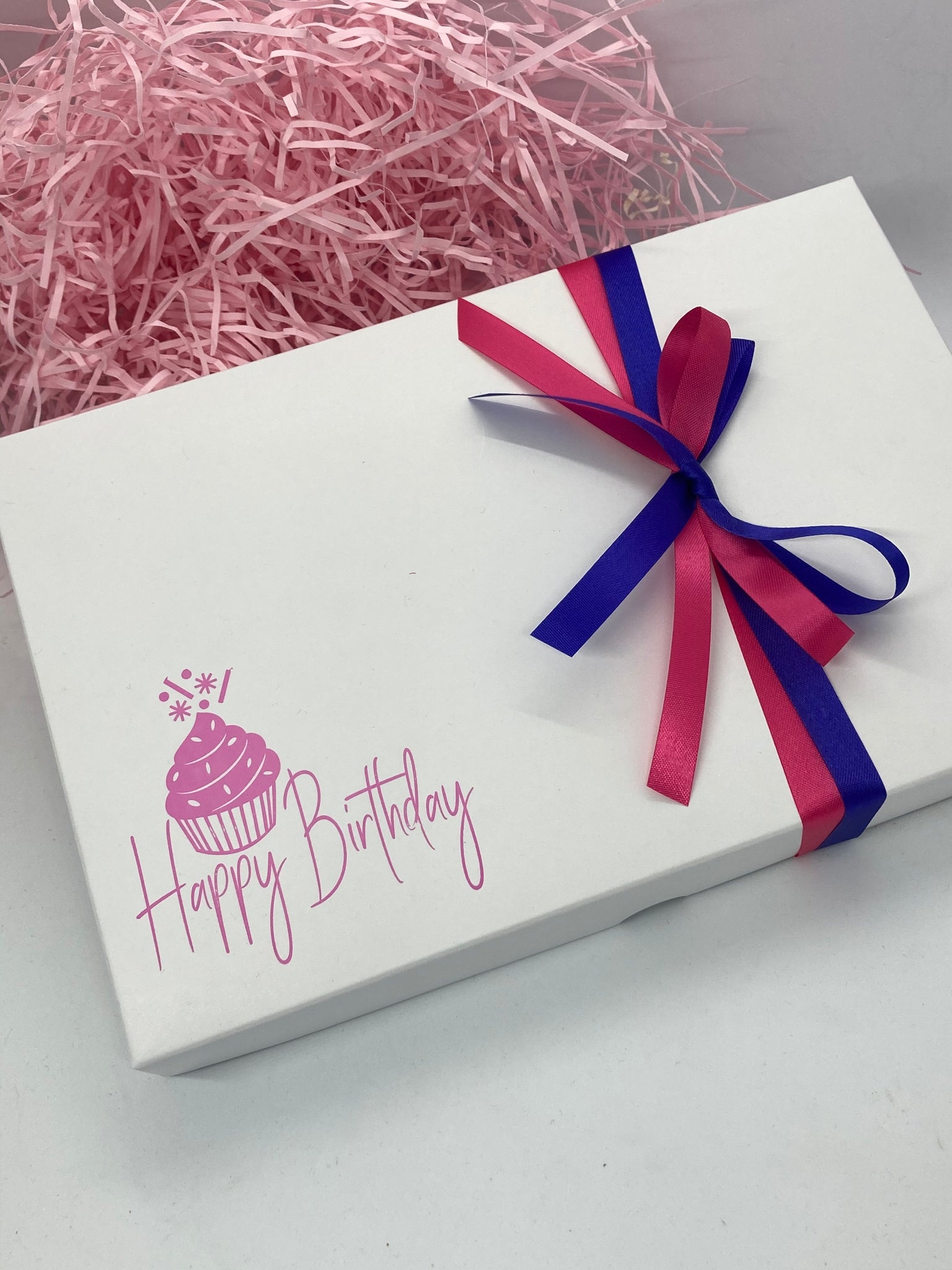 PINK BIRTHDAY DESIGN SOLID WHITE LID GIFT BOX BLANK 240x155x30mm