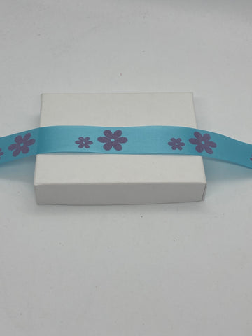 Light Blue Flower Packaging Ribbon - Biodegradable