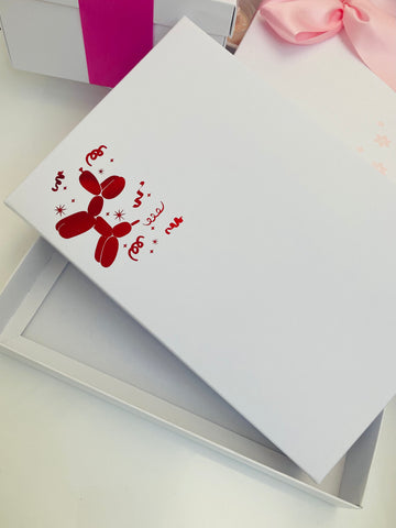 RED BALLOON DOG SOLID WHITE LID GIFT BOX BLANK 240x155x30mm