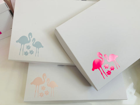 NEON PINK FLAMINGO SOLID WHITE LID GIFT BOX BLANK 240x155x30mm