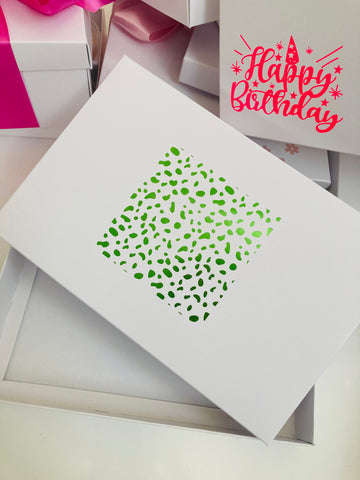 LIME DALMATION SPOT SOLID WHITE LID GIFT BOX BLANK 240x155x30mm