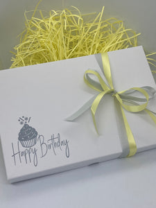 GREY BIRTHDAY SOLID WHITE LID GIFT BOX BLANK 240x155x30mm