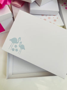 PALE BLUE FLAMINGO SOLID WHITE LID GIFT BOX BLANK 240x155x30mm