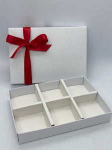 SOLID WHITE LID LARGE 6 CAVITY INSERT BOX BLANK 240x155x30mm