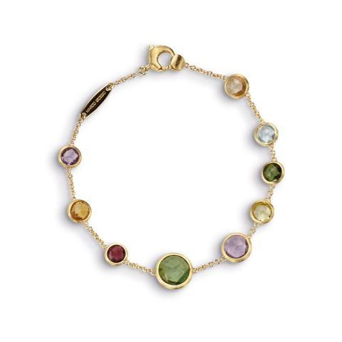 18K Jaipur Collection Yellow Gold Single Stand Mixed Gemstone Bracelet