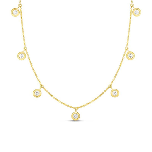 18K Gold 7 Drop Diamond Necklace