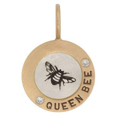 Queen Bee Round Charm