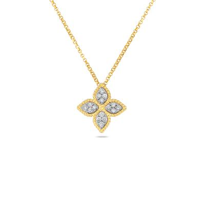 18K Princes Flower Pendant with Diamonds