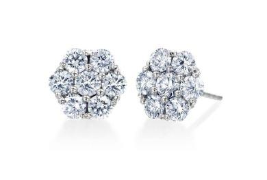 Floral Diamond Earrings .50 Total Carat Weight