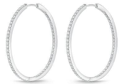 Diamond Hoops 1.21 Carat Total Weight