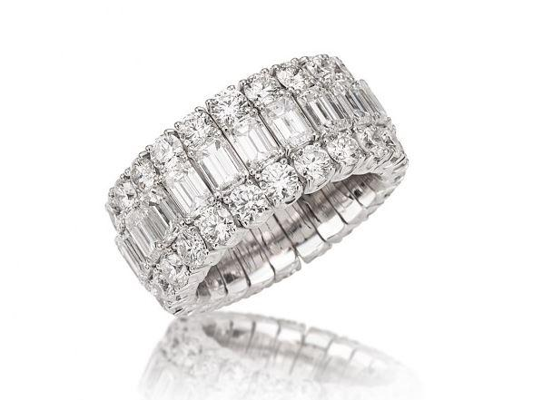 Xpandable Collection Full Eternity Emerald-Cut and Round Brilliant Band