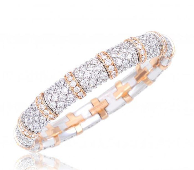 Xpandable White and Yellow Gold Diamond Lace Bracelet