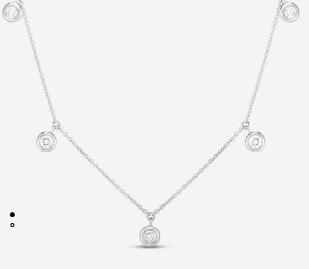 18K 5 DIAMOND DROP STATION NECKLACE