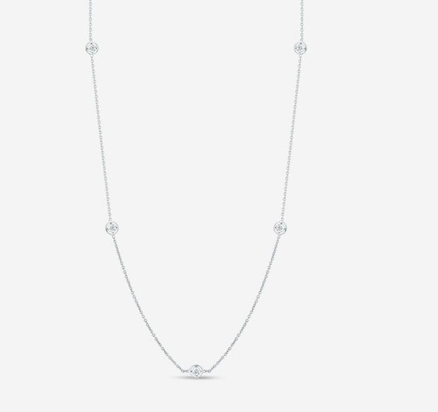 18K Gold Necklace with 7 Diamond Stations