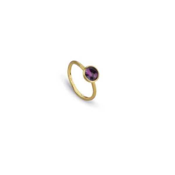 18K Yellow Gold & Rose Cut Cushion Amethyst Stackable Ring