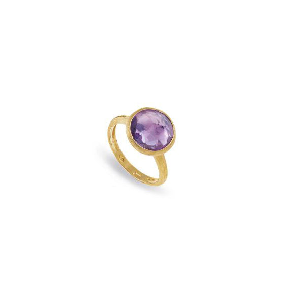 18K Yellow Gold & Amethyst Medium Stackable Ring
