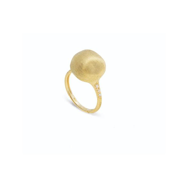 18K Africa Boule Collection Yellow Gold and Diamond Ring
