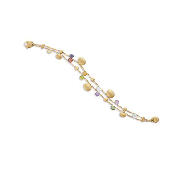 18K Paradise Collection Mixed Stone Two Strand Gold Teardrop Bracelet