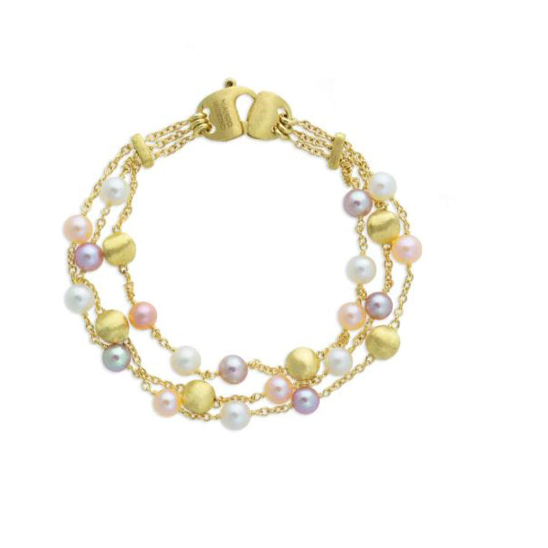18K Africa Pearl Collection Yellow Gold and Pearl Three Strand Bracelet
