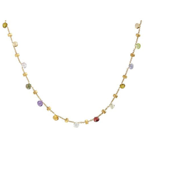 18K Paradise Colletion Yellow Gold and Mixed Stone Short Necklace